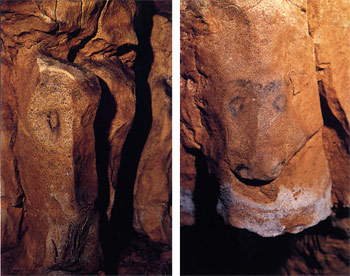 Horse heads on a cave wall