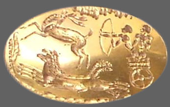 Gold signet ring with men in a chariot hunting deer