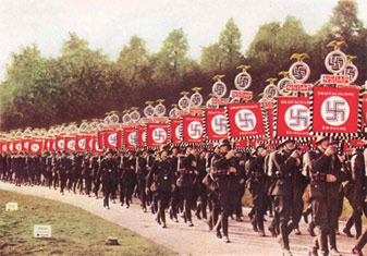 Nazis marching with swastikas