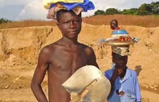 children engaged in diamond mining in Sierra Leone.