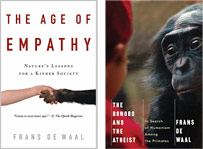 Book covers for Age of Empathy and Bonobo and Atheist
