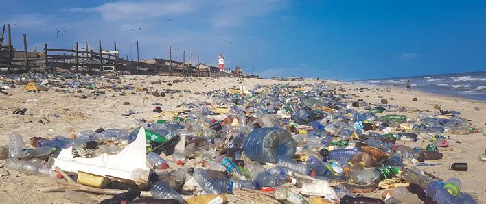 Plastic trash on the beach in Ghana